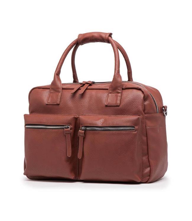 Wimona Alessia 1104 cognac-Dames schoudertas met laptopvak