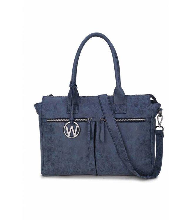 Wimona Catarina Vintage blauw-ruime damestas met laptopvak