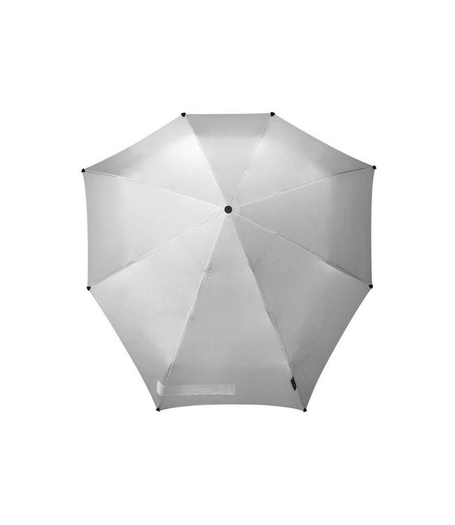 Senz manual shiny silver-opvouwbare storm paraplu