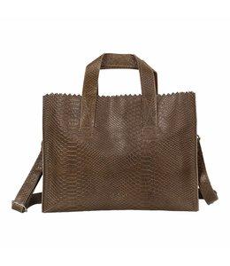 MYOMY My Paperbag Handbag cross-body anaconda taupe