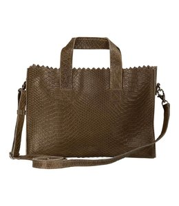MYOMY My paperbag mini handbag cross-body anaconda taupe