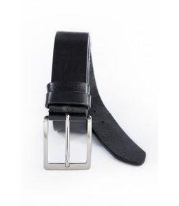 Leren riem nickle gesp 4cm zwart