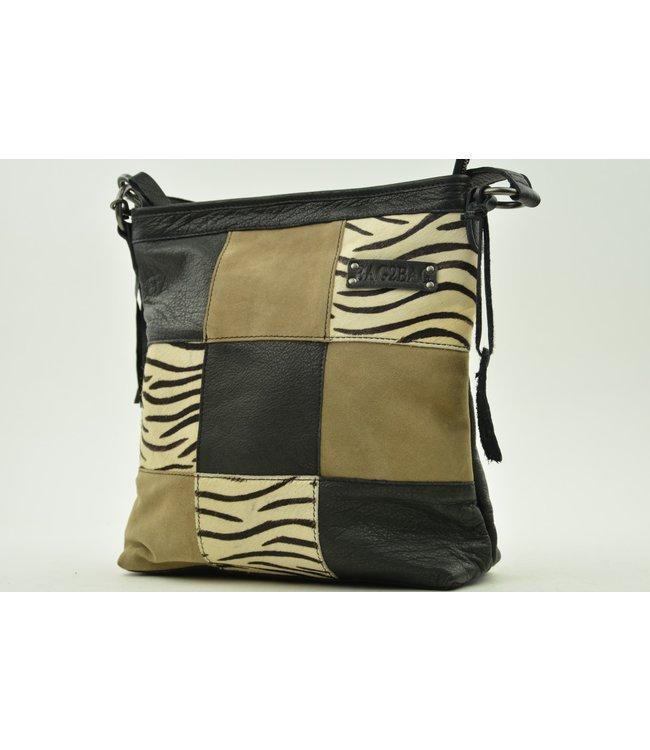 BAG2BAG Lagos leren schoudertas black zebra