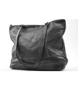 BAG2BAG Denton leren shopper zwart, cognac en brandy