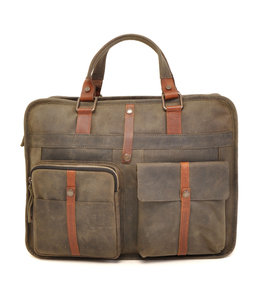 "Berba Barbarossa 2-vaks 15"" leren laptoptas military"