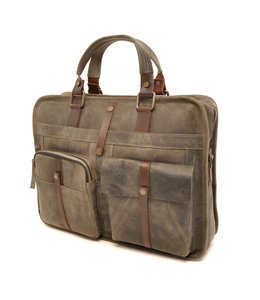 "Berba Barbarossa 1-vaks 15"" leren laptoptas military"