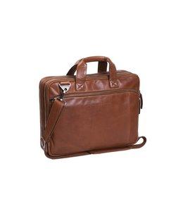 """Chesterfield Manuel 15.6"""" leren laptop-tas zwart en cognac"""