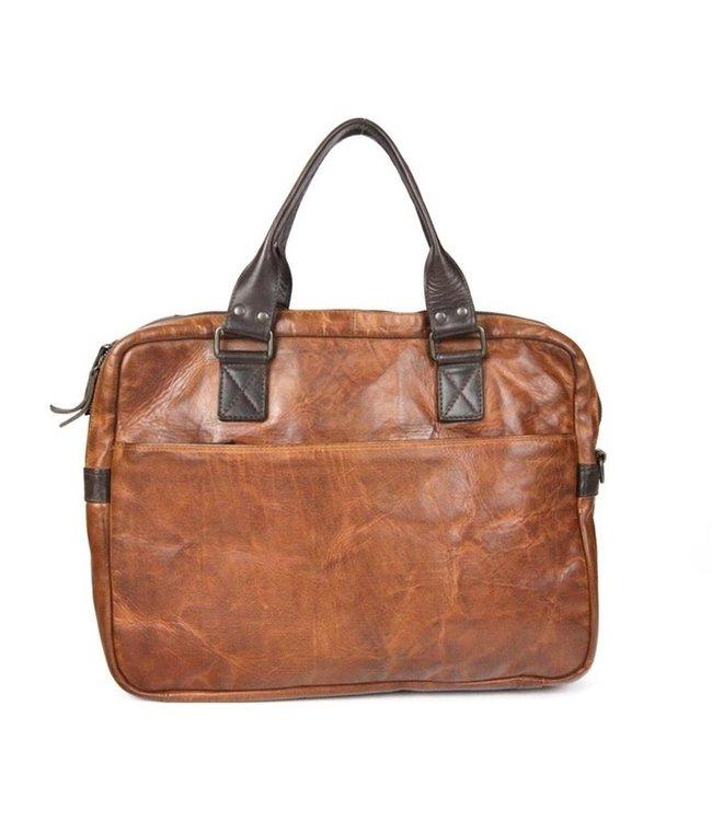 """Bear Design Enzo 15.6"""" leren laptoptas cognac-bruin"""