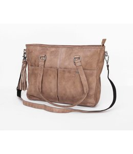 BAG2BAG kelsey leren laptop shopper grey