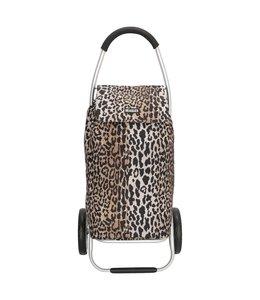 Beagles Alberic boodschappentrolley met winkelkar-haak luipaard
