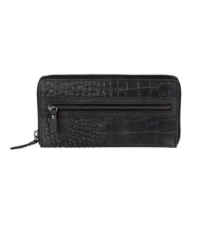 Burkely Croco Cody wallet L zwart
