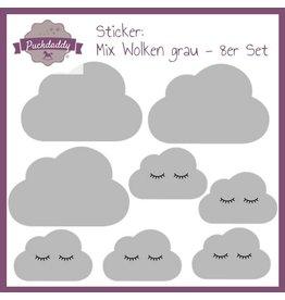 Sticker mix clouds  grey - 8er Set