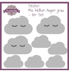 Sticker Mix Clouds Eyes Grey - 8 piece set