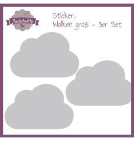 Sticker Grey Clouds Big - 3 piece set
