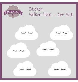 Sticker weiße Wolken Augen klein - 6er Set