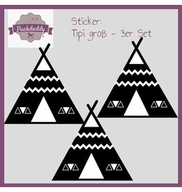 Sticker tipi black big - 3 piece set