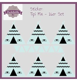 Sticker mix tipi & triangles mint  - 16 piece set