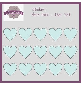 Sticker hearts mint mini - 15 piece set