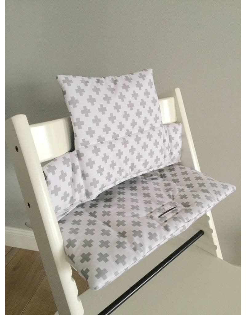 """Coussin """"croixs - blanc"""" pour chaise haute Stokke Tripp Trapp"""