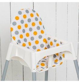 """Sitzkissen """"Punkte Orange""""  für Ikea Antilop Hochstuhl"""