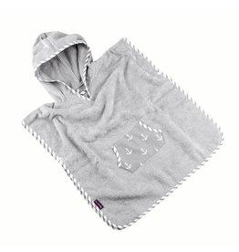 """Badeponcho """"Anker"""", mit Kapuze und Tasche in grau"""