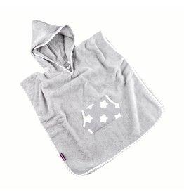 """Badeponcho """"Sterne Grau"""", mit Kapuze und Tasche in grau"""