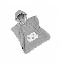 """Badeponcho """"Sterne Weiß"""", mit Kapuze und Tasche in grau"""