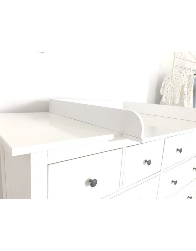 "Changing Top ""Round"" with extra wide cover for IKEA Hemnes dresser 160 cm in white"