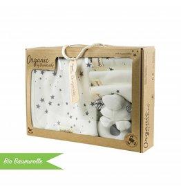 """Bio Baumwolle Geschenkbox """"Waschset Sterne grau"""""""