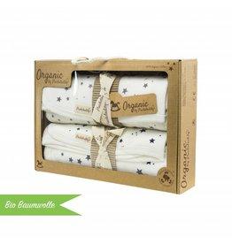 """Bio Baumwolle Geschenkbox """"Deckenset Sterne navy/ Sterne grau"""""""