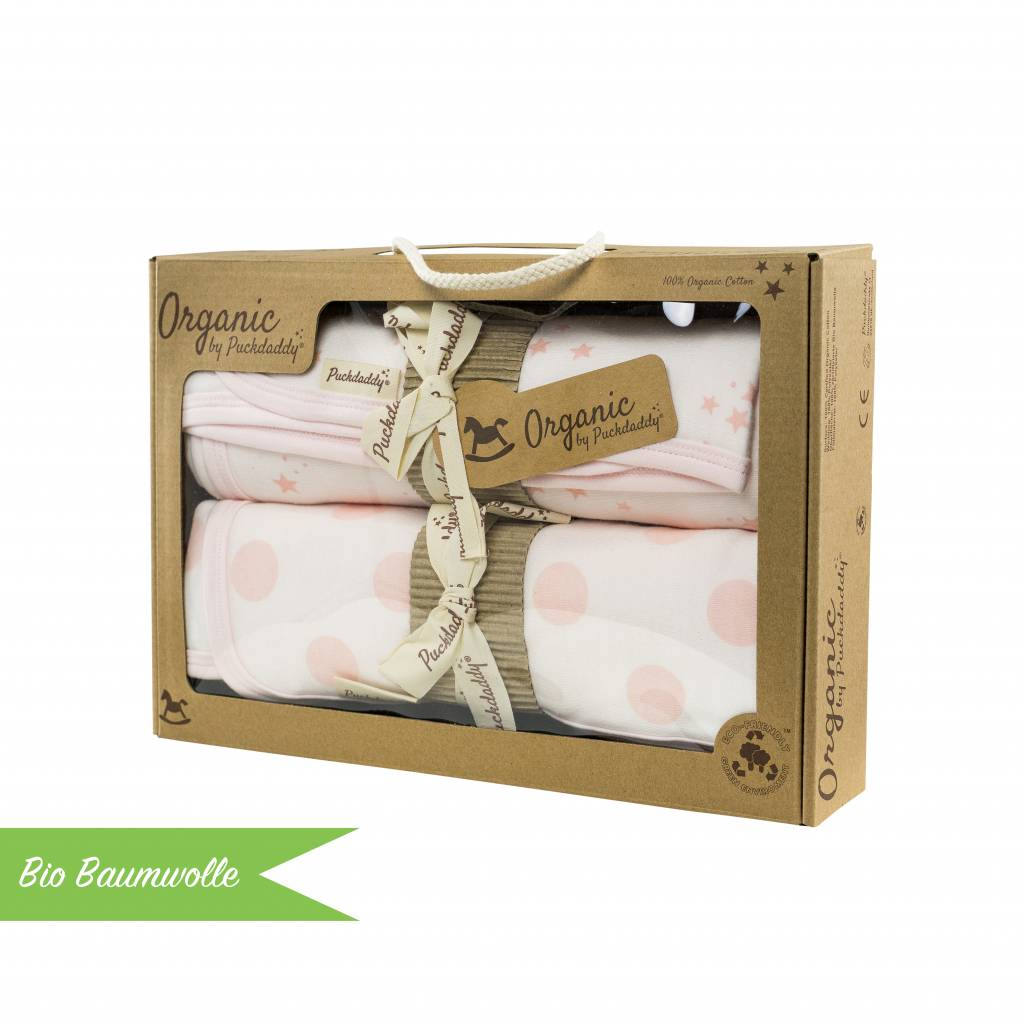 """Bio Baumwolle Geschenkset """"Deckenset Punkte/ Sterne rosa"""""""