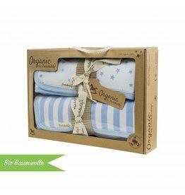 "Organic Cotton Blanket Set ""Stripes/ Stars blue"""