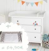 """Wickelaufsatz """"XXL Rund & Trennfach - weiß"""" für IKEA Hemnes + Wickelauflage """"Sterne/Punkte in grau"""""""