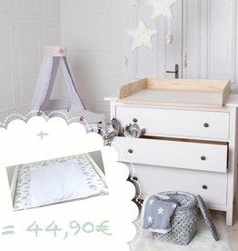 """Wickelaufsatz """"Naturholz"""" für IKEA Hemnes/ Songesand + Wickelauflage """"Wolke weiß"""""""