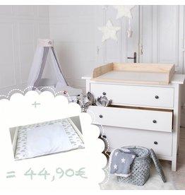 """Bois naturel! Plan à langer pour tous les commodes IKEA Hemnes/ Songesand + matelas à langer """"nuages en blanc"""""""