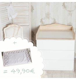 """Wickelaufsatz """"Wolke 4"""" in natur für IKEA Malm + Wickelauflage """"Sterne weiß"""""""