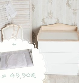 """""""Nuage 4"""" plan à langer avec un joli profil côté face pour tous les commodes IKEA Malm + Matelas à langer """"points en blanc"""""""