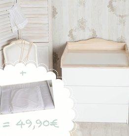 """Wickelaufsatz """"Wolke 4"""" in natur für IKEA Malm Kommode + Wickelaufsatz """"Punkte weiß"""""""