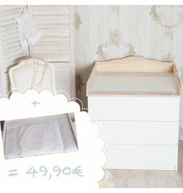 """Wickelaufsatz """"Wolke 4"""" in natur für IKEA Malm Kommode + Wickelauflage """"Punkte weiß"""""""