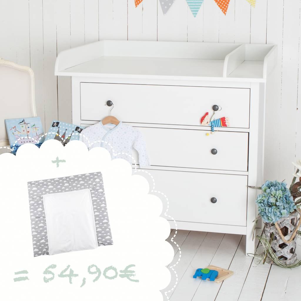"""Wickelaufsatz """"XXL Rund & Trennfach - weiß"""" für IKEA Hemnes + Wickelauflage """"Wolken grau"""""""