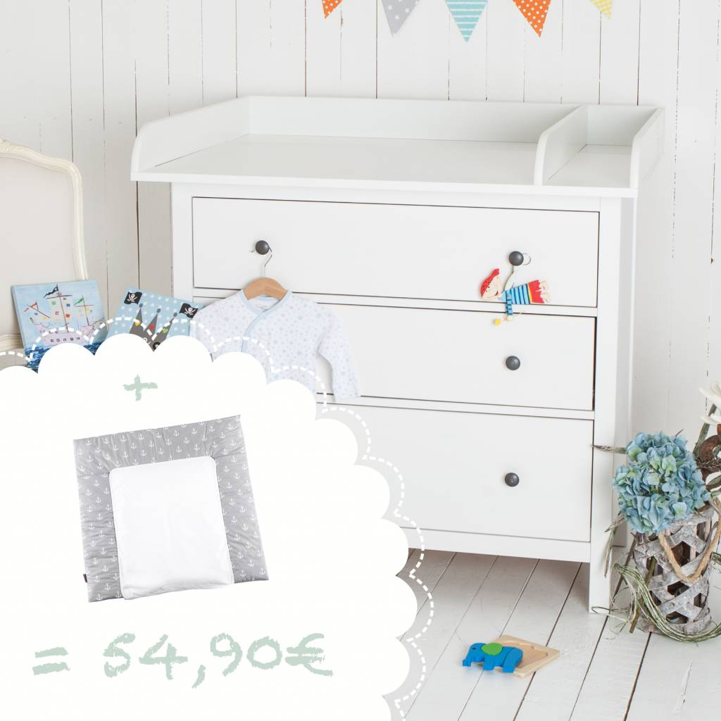 """Wickelaufsatz """"XXL Rund & Trennfach - weiß"""" für IKEA Hemnes + Wickelauflage """"Anker"""""""