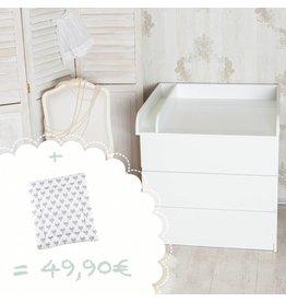 """Wickelaufsatz """"Rund"""" mit Trennfach für IKEA Malm + Wickelauflage """"Füchse"""""""