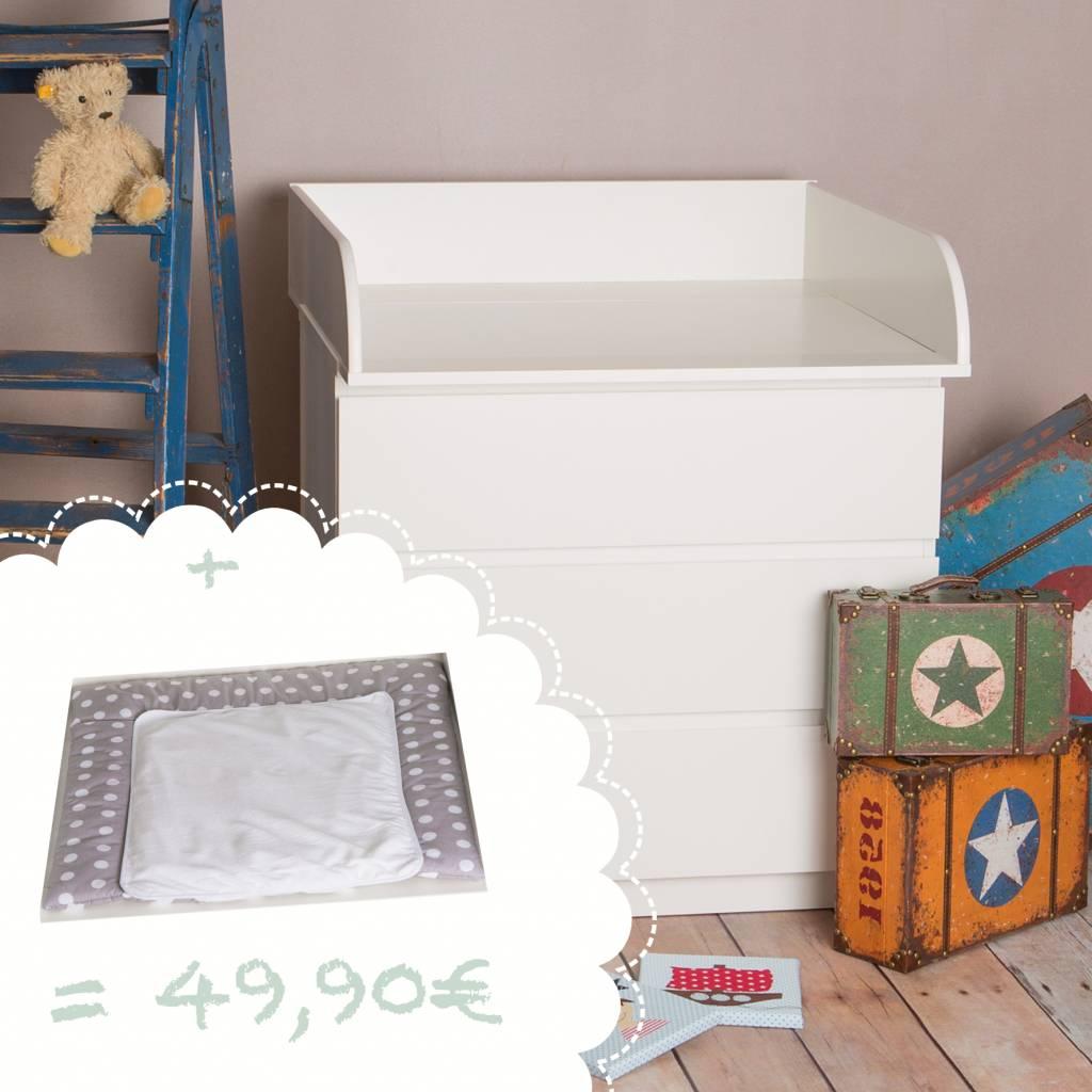 """Wickelaufsatz """"15cm hoch"""" in weiß für IKEA Malm Kommode + Wickelauflage """"Punkte""""!"""