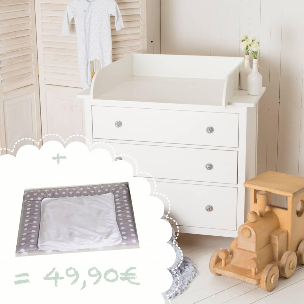 """Wickelaufsatz """"15cm hoch"""" in weiß für IKEA Hemnes Kommode + Wickelauflage """"Punkte"""""""