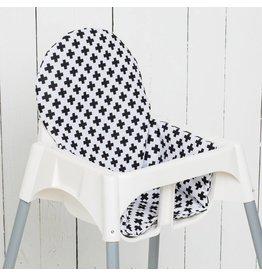 """Coussin """"Croix noir/blanc"""" pour chaise haute"""