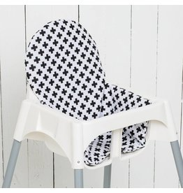 "Highchair cushion ""Crosses black/white"""