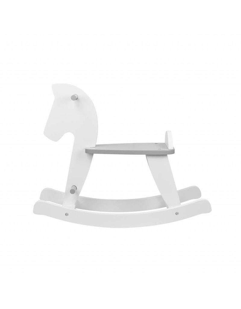 cheval à bascule en blanc/gris