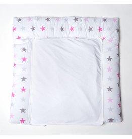 "Wickelauflage ""Sterne rosa/grau"", mit abnehmbarem Frotteebezug"