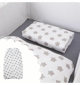 """Linge de lit """"étoiles blanc"""" + Gigoteuse """"étoiles blanc"""" 70-90 cm"""