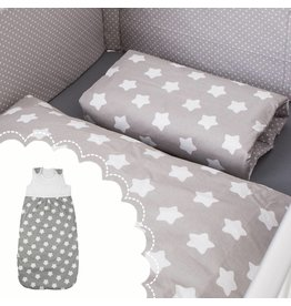 "Bed Linen ""stars grey"" + Baby sleeping bag ""stars grey"" 70-90 cm"